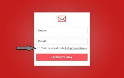 Bloom: come aggiungere il checkbox della privacy policy