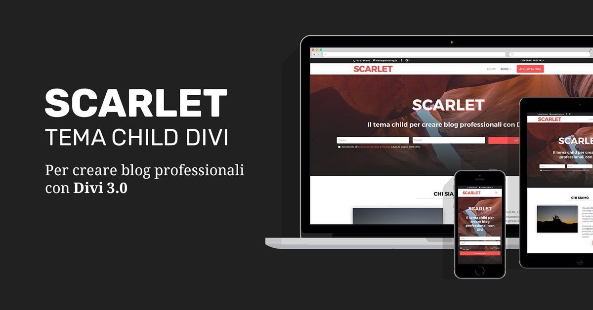 Scarlet, il tema child Divi per creare blog professionali