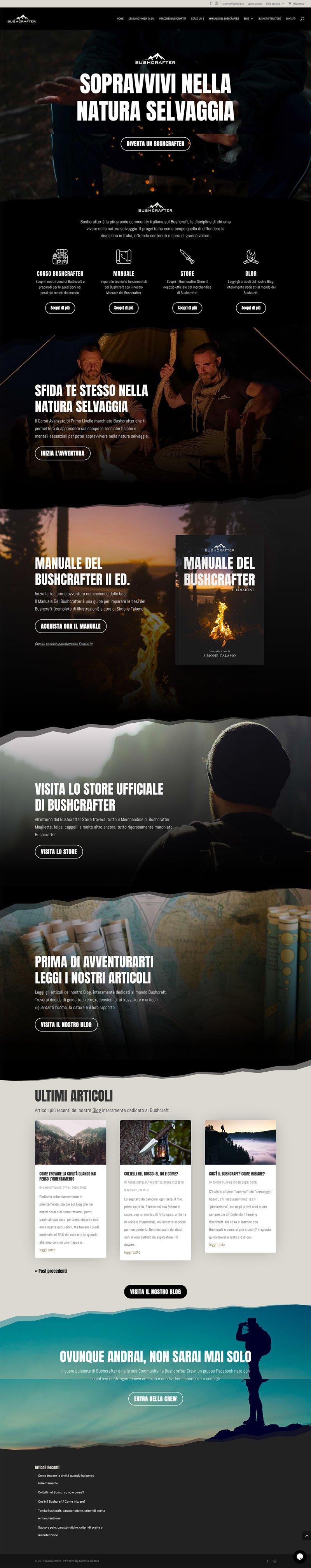 Esempi di siti fatti con Divi bushcrafter.it