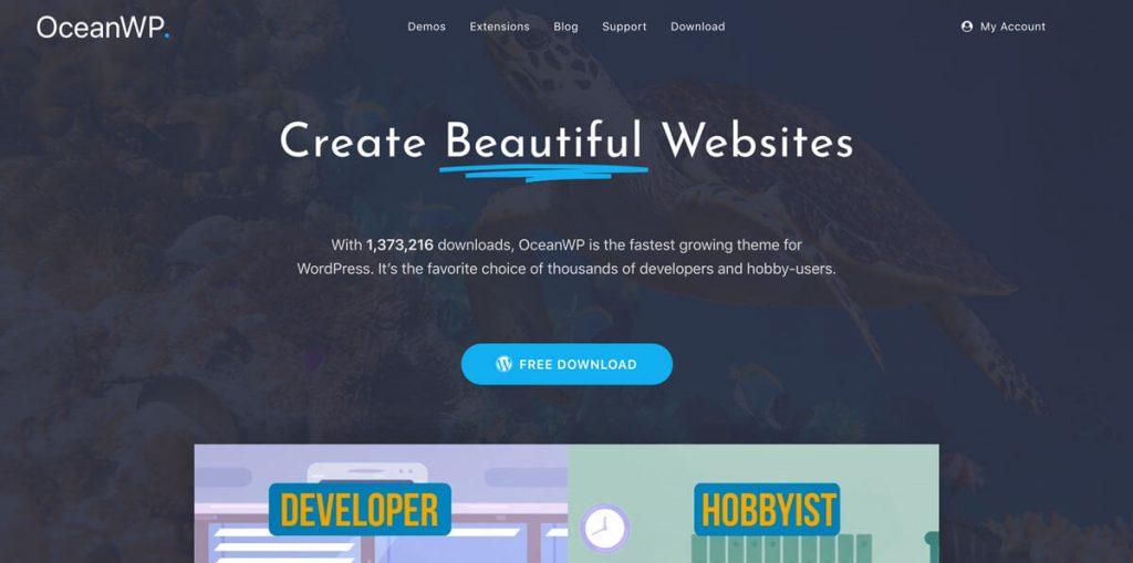 Ocean WP uno dei migliori temi WordPress per Elementor PRO