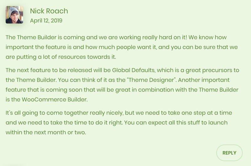 Commento di Nick Roach sulla data di uscita del Divi Theme Builder