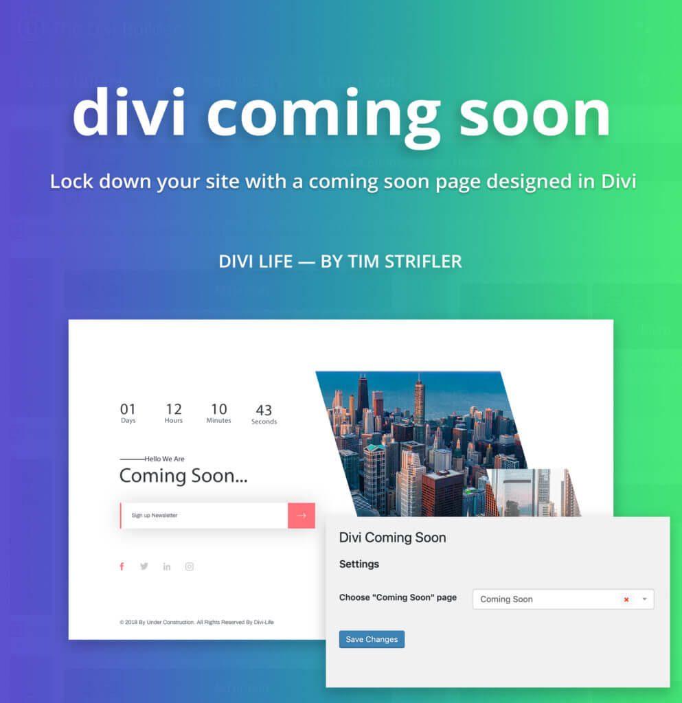 Divi plugin gratis per pagina Coming Soon e nascondere sito
