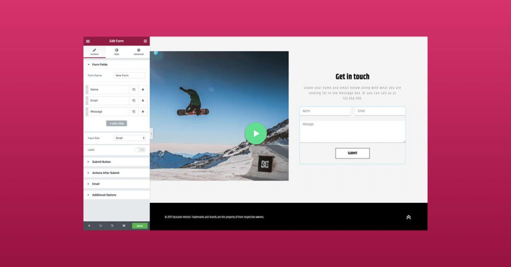 Il modulo di contatto di Elementor - migliori moduli contatto WordPress