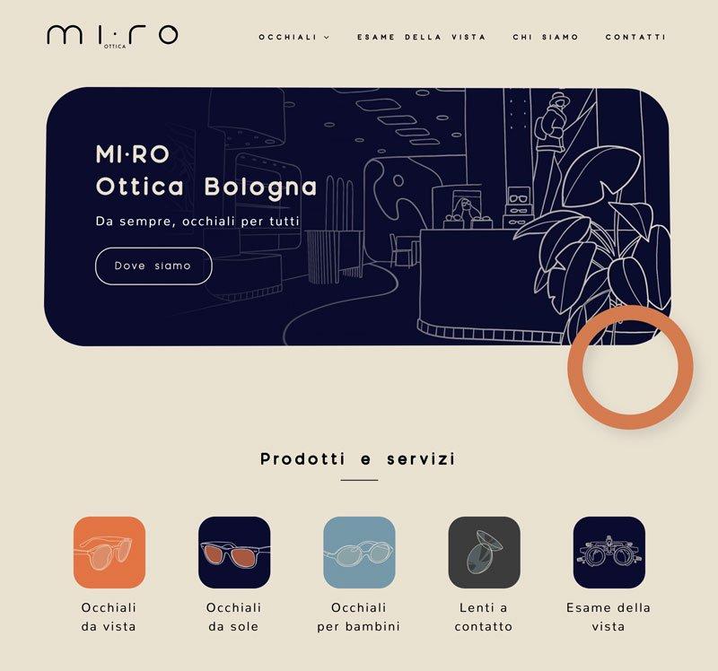 Esempio di sito fatto con Elementor - MI RO ottica Bologna