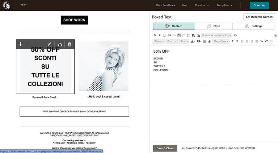 Migliori alternative a Mailchimp - Editor Drag e Drop di Mailchimp