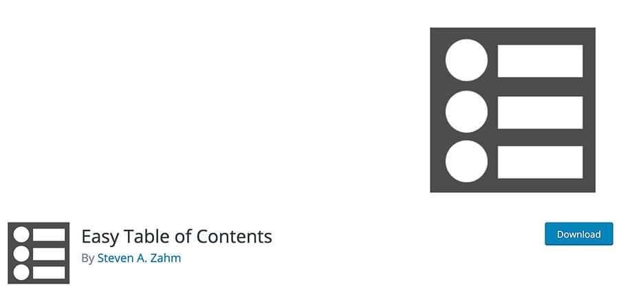 Easy Table of Contents - Migliori plugin tablella contenuti WordPress