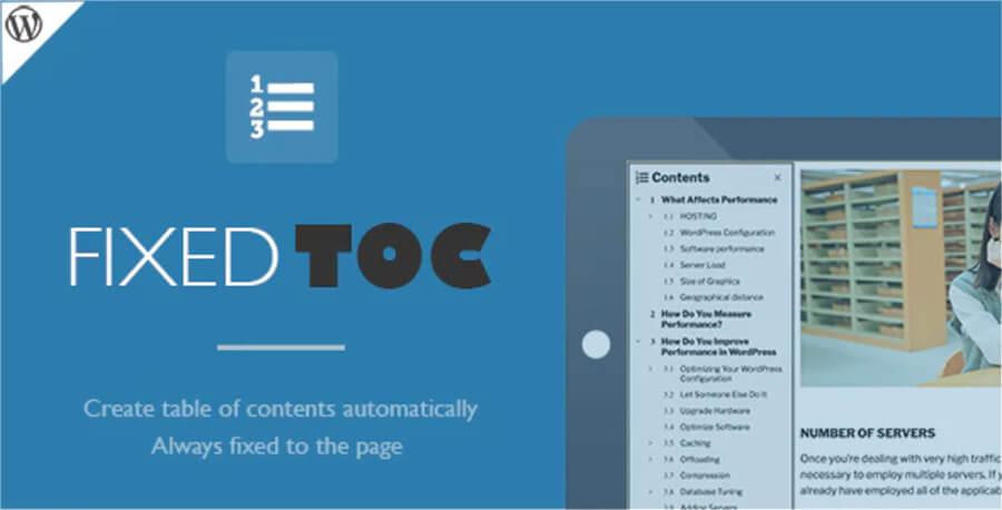 Fixed TOC table of contents per WordPress