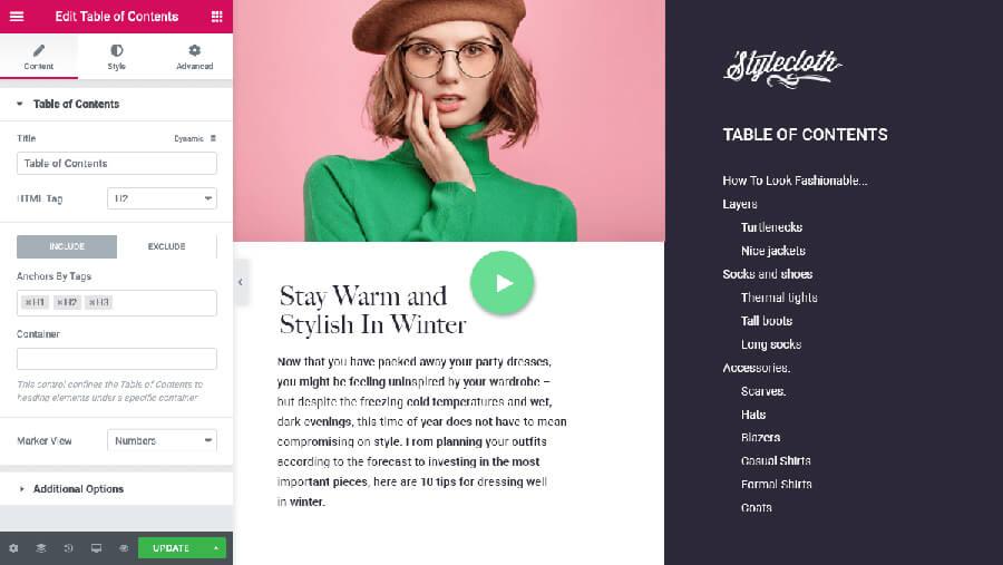 Table Of Contents widget Elementor WordPress