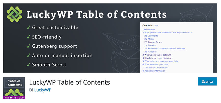 Lucky WP Table of contents WordPress