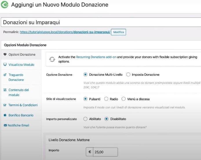Modulo donazioni WordPress